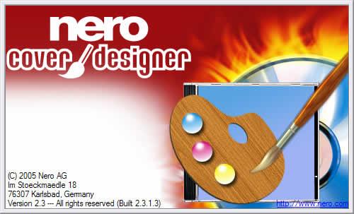 obrázek úvodní obrazovky programu nero cover designer